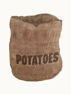 Potatoes, collograph of bag. original print, food art