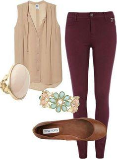 Burgundy pants + cream/brown top + brown flats + cream/brown bag