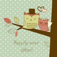 carte félicitation mariage mignonne avec dessin hiboux