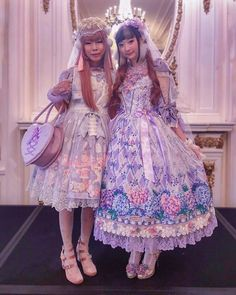 ondays are always rough, so here's a throwback to when I met for the first time! Her sense of humor, endless creativity and Harajuku Fashion, Lolita Fashion, Mode Lolita, Multiple Outfits, Lavender Dresses, Angelic Pretty, Japanese Street Fashion, Lolita Dress, Alternative Fashion