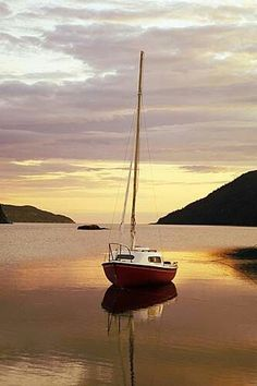 """orchidaaorchid: """"Sailboat at dawn by Clyde Barrett """""""