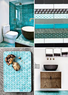love the colours of this bathroom and the patterned tiles