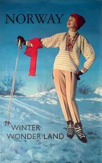 Norway - Winter Wonderland vintage ski poster 1960