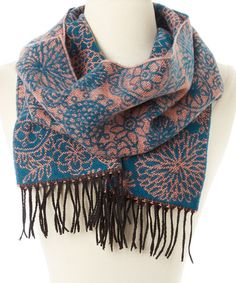 Look what I found on #zulily! Teal & Peach Floral Cashmere Scarf #zulilyfinds
