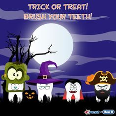 Trick or Treat! Brush your Teeth! HAPPY HALLOWEEN! #halloween #teeth #brush #dental #dentistry #oralhealth