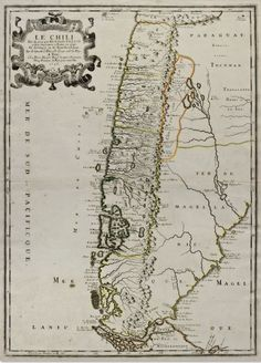 """""""Le Chili"""" (Chile),  by Nicholas Sanson, 1656, hand-colored copperplate engraving"""