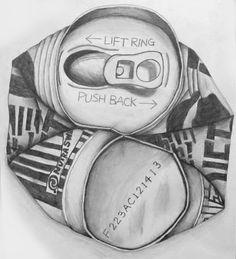 Crushed Can Drawing. Link to lesson: http://www.bcsc.k12.in.us/Page/8940