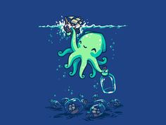 """Deep Sea Hobby"" by Patrickspens Cute kraken puts a ship in a bottle Graphisches Design, Octopus Art, Illustration, Sea Monsters, Of Wallpaper, Deep Sea, Cute Drawings, Cute Art, Cute Pictures"