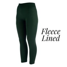 Wholesale hunter green one fits all full fleece lined leggings Offered everyday