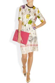 Marni|Scratchy Cat printed silk-twill dress|NET-A-PORTER.COM