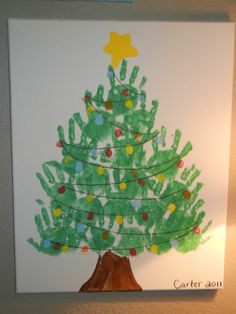 Handprint Christmas Tree with fingerprint lights canvas. Do it with each family members hand print though Christmas Tree Canvas, Handprint Christmas Tree, Preschool Christmas, Christmas Tree Hand Print, Christmas Crafts For Kids To Make Toddlers, Hand Print Tree, Kids Holidays, Hand Print Crafts, Christmas Decorations For Classroom