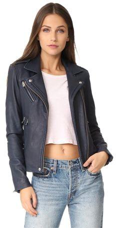 IRO Rag & Bone Isabel Marant Acne Studios Tibi Alice Olivia Blue Leather Jacket