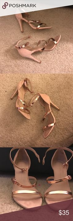ZARA Rose Gold Strappy sandal Heel Re•pushing these beautiful sandal heels! Rose gold straps, ankle secure strap. I was in love with these heels when I saw it on a Poshmark post, however it doesn't fit my wide feet too well. Purchased for $40, but these retail for $90. Perfect for summer! Can't find these anywhere anymore. Euro Size 38 / US size 8. ❌⭕️❌⭕️ Zara Shoes Heels