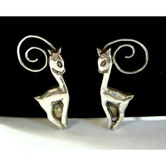 Deer Earrings Sterling Silver Stamped Mexico Silver Screw Back Style... ($25) ❤ liked on Polyvore featuring jewelry, earrings, silver screw back earrings, fine jewellery, earring jewelry, deer jewelry and silver jewellery