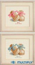 Même DMC 14CT bricolage Cross Stitch Kits pour broderie bande dessinée bébé Express acte de naissance chaussures garçon fille cadeau décoration de la maison de couture(China (Mainland))