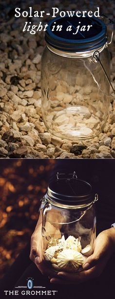 Sonnenglas Solar Powered Led Light Consol Solar Jar Discovered By The Grommet Stores Sunlight During The Day Using Solar Leds That Can Be Used At Night With The Flick Of A Switch Mason Jar Solar Lights, Jar Lights, Mason Jar Wine Glass, Solar Light Crafts, Diy Solar, Solar Lamp, Pots, Solar Powered Led Lights, Small Backyard Landscaping