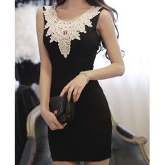 Hollow Out Design Sleeveless Lace Splicing Packet Buttock Dress
