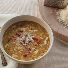 Portuguese-Style White Bean Soup with Chicken and Bacon is hearty enough to have on it's own. A light salad and a loaf of crusty bread are always a good addition. 15 Bean Soup, White Bean Soup, White Beans, Bacon Recipes, Soup Recipes, Cooking Recipes, What's Cooking, Portuguese Recipes, Portuguese Bean Soup