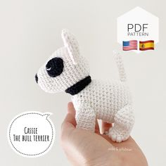 "Excited to share this item from my #etsy shop: AMIGURUMI PATTERN/ tutorial (English/Español) Amigurumi Bull Terrier - ""Cassie the Bull Terrier Puppy"" pdf - US terminology Half Double Crochet, Single Crochet, Bull Terrier Puppy, Yarn Dolls, Crochet Abbreviations, Small Blankets, Doll Eyes, Types Of Yarn, Sewing Basics"
