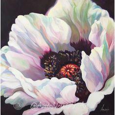 White Oriental poppy- Poppy flower painting - Anita Nowinska - oil on canvas