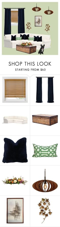 """""""Cozy Living Room"""" by ghostgypsy ❤ liked on Polyvore featuring interior, interiors, interior design, home, home decor, interior decorating, Pottery Barn, Nearly Natural, Woodbridge Lighting and C. Jeré"""