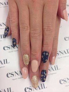 nail designs, nail art     The little gold crosses on the navy blue nails are just too cute.