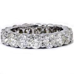 Huge 5 Carat Round Diamond Eternity Ring Wedding Band White Gold Anniversary Size 6, Women's