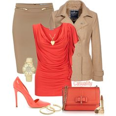 Work Outfits | Fashionista Trends - Beige Pencil Skirt & Patent Pumps