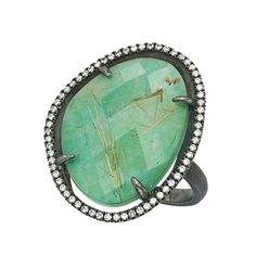 S & R Designs Silver Amazonite and Diamond Ring