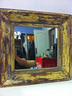 decoración vintage, antiguitats-baraturantic: espejo vintage de madera