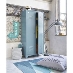 A wave of freshness will flood your bedroom with the LOFT grey blue wardrobe. With its industrial style and on-trend look, this metal wardrobe 2 Door Wardrobe, Wardrobe Storage, Locker Storage, Vintage Lockers, Metal Lockers, Ikea Ps, Sister Room, Condo Living, Affordable Furniture