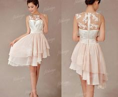 Cheap Pretty Junior Blush Pink Hi-Lo Short Knee-Length Discount Wedding Bridesmaid Dresses, The short bridesmaid dresses are fully lined, 4 bones in the bodice, chest pad in the bust, lace up bac Short Lace Bridesmaid Dresses, Champagne Bridesmaid Dresses, Affordable Bridesmaid Dresses, Lace Bridesmaids, Dresses Short, Prom Dresses, Wedding Dresses, Cheap Dresses, Affordable Dresses