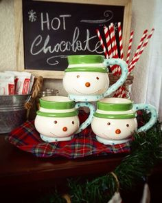 Chocolate bar, snowman mugs, christmas vignette, chalkboard, rustic christmas
