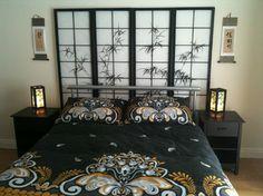 Japanese style bedroom - asian - bedroom - other metro  Screen as headboard!