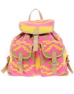 ASOS Bright Aztec Backpack With Leather Trim
