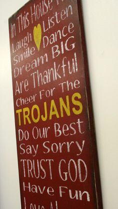 USC Trojans Family Rules Sign Custom Sign Personalized Sign Distressed Wood Sign Handmade Sign Mancave Sign Cardinal Red and Gold