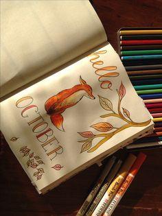 Hello October spread in Bullet Journal, Fall/Autumn themed