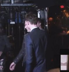I present to you the world's most adorable gif. In which Chris Evans gets scared by Tom Hiddleston and Tom Hiddleston gets scared by Chris Evans.