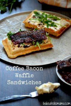 Coffee Bacon Waffle Sandwiches with a Creamy Sweet Spicy Spread and Arugula | #ParksandRec