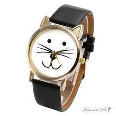 Armbanduhr Katze Gelbgold PU Leder schwarz