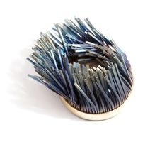 Windswept Brooch inspired by the wild Scottish weather: capturing fluidity & movement in titanium & mild steel - jewellery as art // Heather Woof