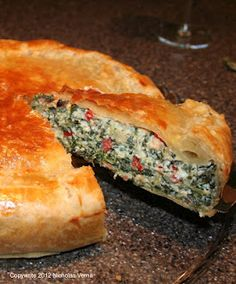 Tuscan Spinach Pie - Salty pancetta, spinach, creamy ricotta, sweet peppers and savory Fontina cheese encased in a buttery, flaky puff pastry