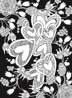 Welcome to Dover Publications;  Creative Haven Hearts Coloring Book: Romantic Designs on a Dramatic Black Background