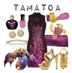 """""""Tamatoa"""" by grandduchessalaina ❤ liked on Polyvore featuring Gunne Sax By Jessica McClintock, French Connection, Tiffany & Co., Michael Antonio, Revlon, Roberto Coin, Marco Bicego, Christian Dior, Deborah Lippmann and crab"""