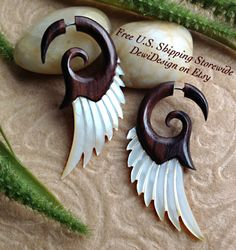 Fake Gauge Earrings Forest Fairy Wings Hand Carved by DewiDesign, $24.50