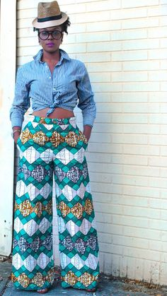Wide leg pants, ankara pants, wax print pants, African print pants with pockets - The Chrissy Trouser Mais African Inspired Fashion, African Print Fashion, Africa Fashion, Fashion Prints, African Attire, African Wear, African Women, African Dress, African Print Pants