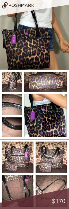"""Coach Signature Ocolet Tote/Wristlet F25282/F50131 Coach Signature Leopard Print Ocolet Tote & Wristlet Set! Gorgeous in Beautiful Purple & Black (hint of tan) Stain Resistant Sateen! It has Black Patent Leather handles & trim! Bag is lined in black, 1 zip, multiple slip pockets with silver hardware. The exterior has a full size snap pocket in front, double handle drop is 8.25"""" bag measures 13 X 12 X 3 the Wristlet is matching in the same, it has 2 slots for cards & full of room, Wristlet…"""