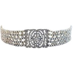 Pre-owned Belle Epoque Edwardian Natural Pearl Diamond Platinum Choker (101.600 VEF) ❤ liked on Polyvore featuring jewelry, necklaces, choker necklaces, choker jewelry, platinum jewelry, pearl necklace, white pearl necklace and edwardian jewelry