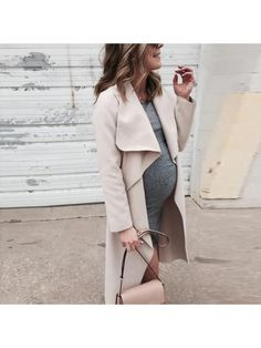 Maternity Fold Over Collar Solid Color Loose Trench Coat Winter Maternity Outfits, Cozy Winter Outfits, Stylish Maternity, Maternity Wear, Maternity Dresses, Pregnancy Fashion Dresses, Maternity Work Clothes, Maternity Styles, Baby Bump Style