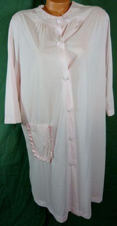 Vtg Texsheen Lingerie Pink Nylon Chiffon Satin Robe Medium Lace Russell Newman #Texsheen